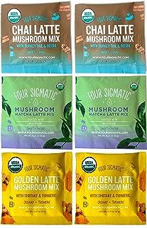 Four Sigmatic Mushroom Latte Mix Sampler – Golden Mushroom Latte, Chai Mushroom Latte, Mushroom Matcha Latte - Pack of 6