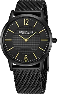 Stuhrling Original Classic Somerset Elite Men's Quartz Watch With Black Dial Analogue Display and Black Stainless Steel Br...