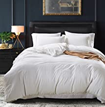 MUKKA Duvet Cover King Size Washed Cotton Technical 3 Pieces Pom Poms White Ball Fringe Design Stone-Washed Silky Soft Brushed Microfiber, Natural Wrinkle Looking, Breathable