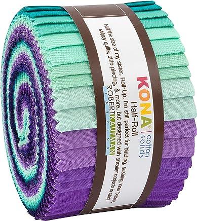 "Robert Kaufman Kona Cotton Solids Aurora Half Roll 2.5"" Precut Cotton Fabric Quilting Strips Assortment HR-155-24"