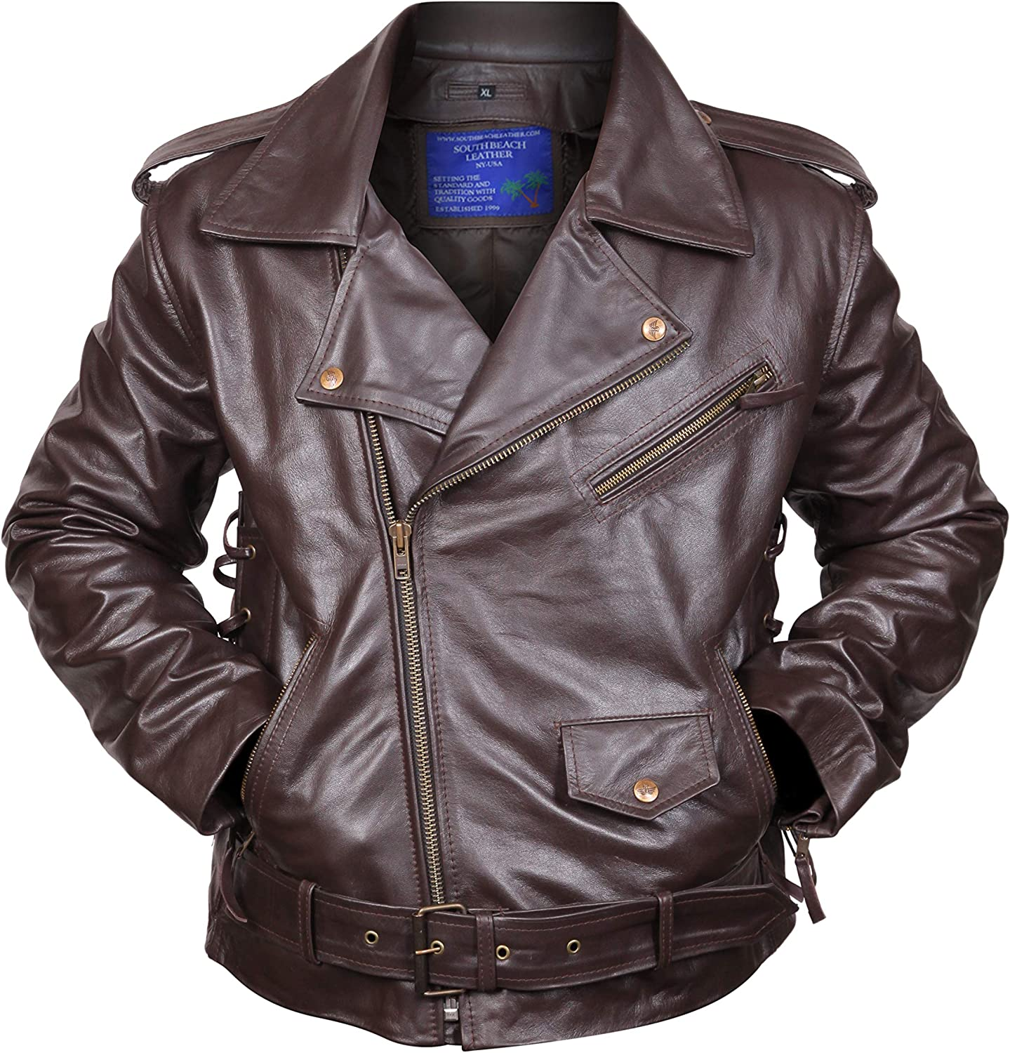 Side Lace-up Motorcycle Biker Brown Leather Jacket SouthBeachLeather