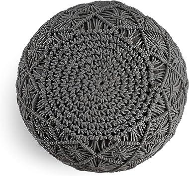 Pouf Ottoman Hand Knitted Cable Style Dori Pouf - Macramé Pouf - Floor Ottoman - 100% Cotton Braid Cord - Handmade & Hand