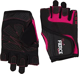Fox Fierce Womens Weightlifting Gloves in Black or Pink plusFREE Padded Figure 8 Lifting Straps for Powerlifting and Heavier Weight plusFREE Fitness Workout for Women Ebook