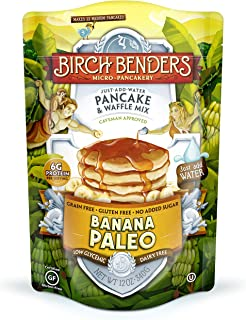 Banana Paleo Pancake & Waffle Mix by Birch Benders, Gluten Free, 6g Protein, Grain Free, No Added Sugar, Non-GMO, All Natural, 12 oz