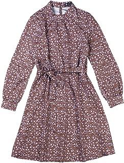 Allegra K Women's Floral Flare Long Sleeve Mock Neck Tie Waist A-line Dress