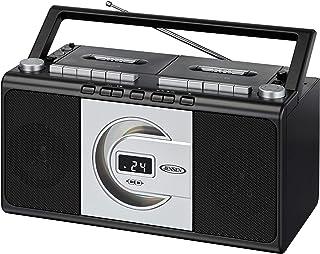 Jensen MCR-1000SB Modern Retro Music System Portable CD/Cassette Player Stereo Boombox, LCD Display, Compact Dual Cassette...