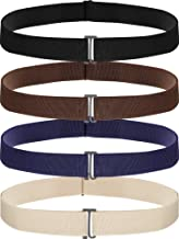 4 Pack Women No Show Invisible Belt Elastic Stretch Waist Belt with Flat Buckle