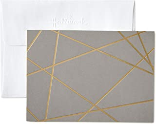 Hallmark Blank Cards, Gold Foil Lines (10 Cards with Envelopes)