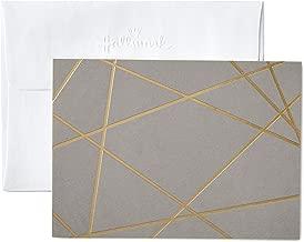 Hallmark Blank Cards, Gold Foil Lines (10 Cards with Envelopes)