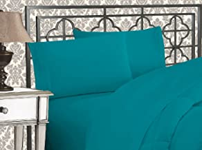 Elegant Comfort Luxurious & Softest 1500 Thread Count Egyptian Three Line Embroidered Softest Premium Hotel Quality 4-Piece Bed Sheet Set, Wrinkle and Fade Resistant, King, Turquoise