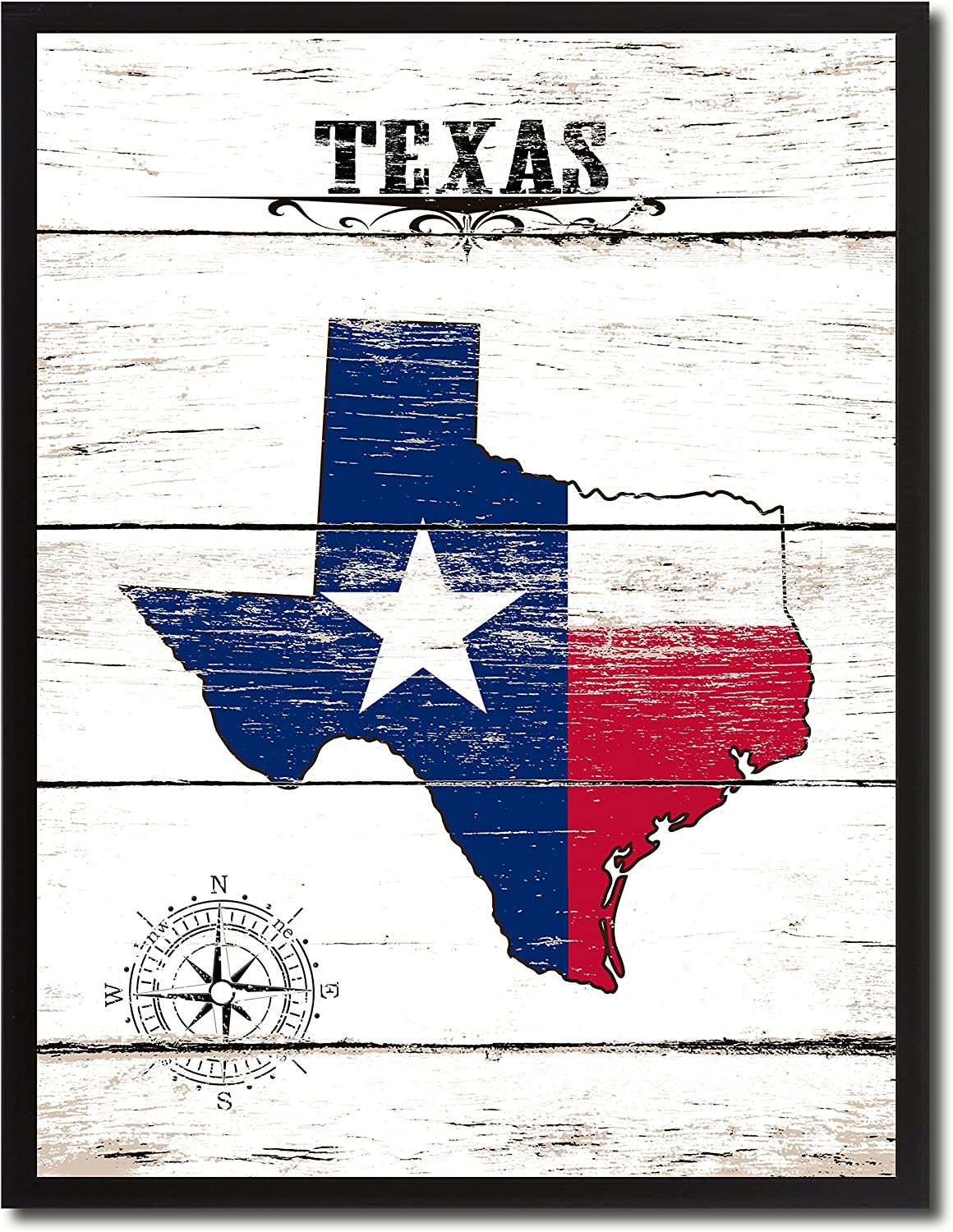 SpotcolorArt Texas State Vintage Flag Handcrafted Framed Canvas Print