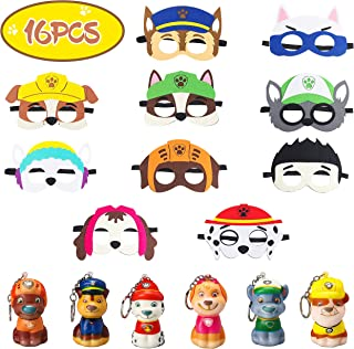 Ticiaga 16pcs Paw Dog Patrol Party Favors for Kids, 10pcs Paw Dog Patrol Felt Masks and 6pcs Little Puppy Squishies Keychains, Paw Dog Patrol Birthday Cosplay Character Dress-Up Party Supplies