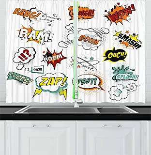 Ambesonne Superhero Kitchen Curtains, Old Fashioned Comics Inspired Artwork Retro Fictional Effects Cartoon Motifs, Window Drapes 2 Panel Set for Kitchen Cafe, 55 W X 39 L Inches, Multicolor
