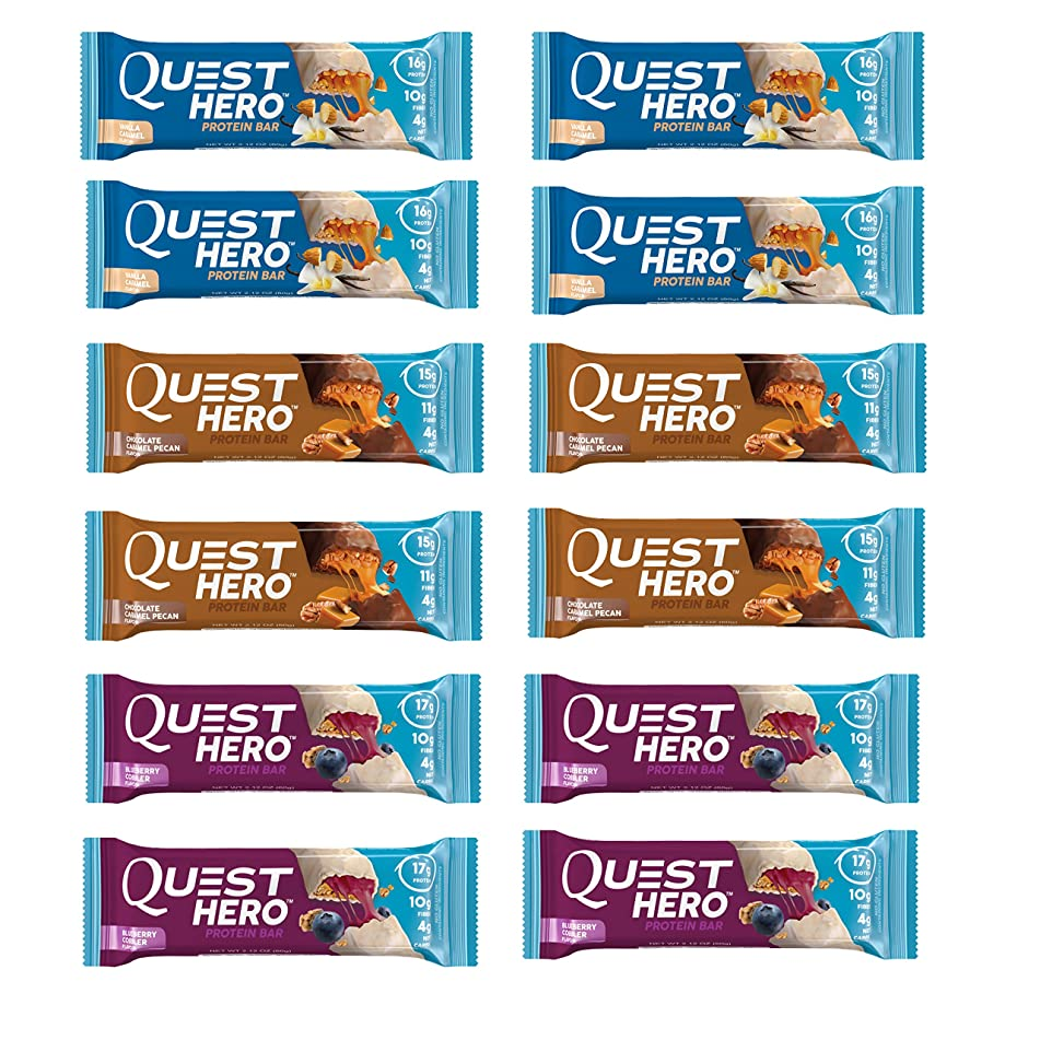 Quest Nutrition Hero Protein Bar Variety Pack. Low Carb Meal Replacement Bar w/ 20gram Protein. High Fiber, No Soy, No Gluten(12 Count)