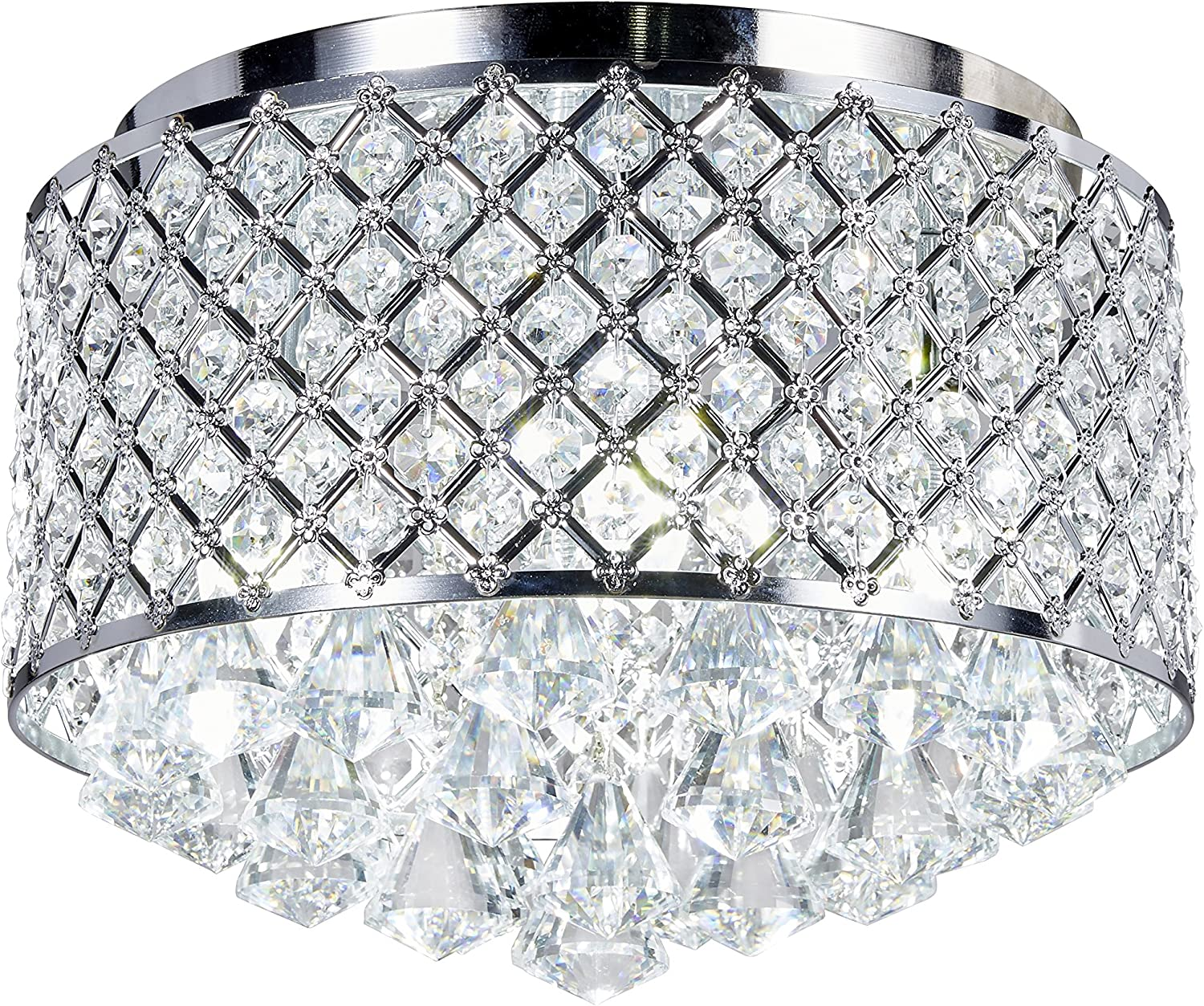 Broadway Silver Classic Crystal Chandeliers Modern Lamps Pendant Light Flush Mount Ceiling Hand-polished Fixture BL-ABJ X-L4 W14 X H14 Inch