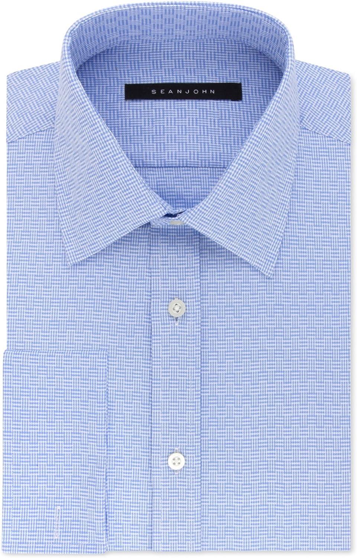 Sean John Mens French Cuff Button Up Dress Shirt softblue 17.5