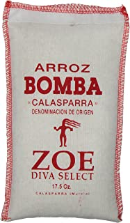 Zoe Diva Select Bomba Rice 17.5 OZ. bag, Short-Grain Spanish-Style Rice, Firm-Grained Rice, the Perfect Rice for Paella, Grown in the Calasparra Region of Spain