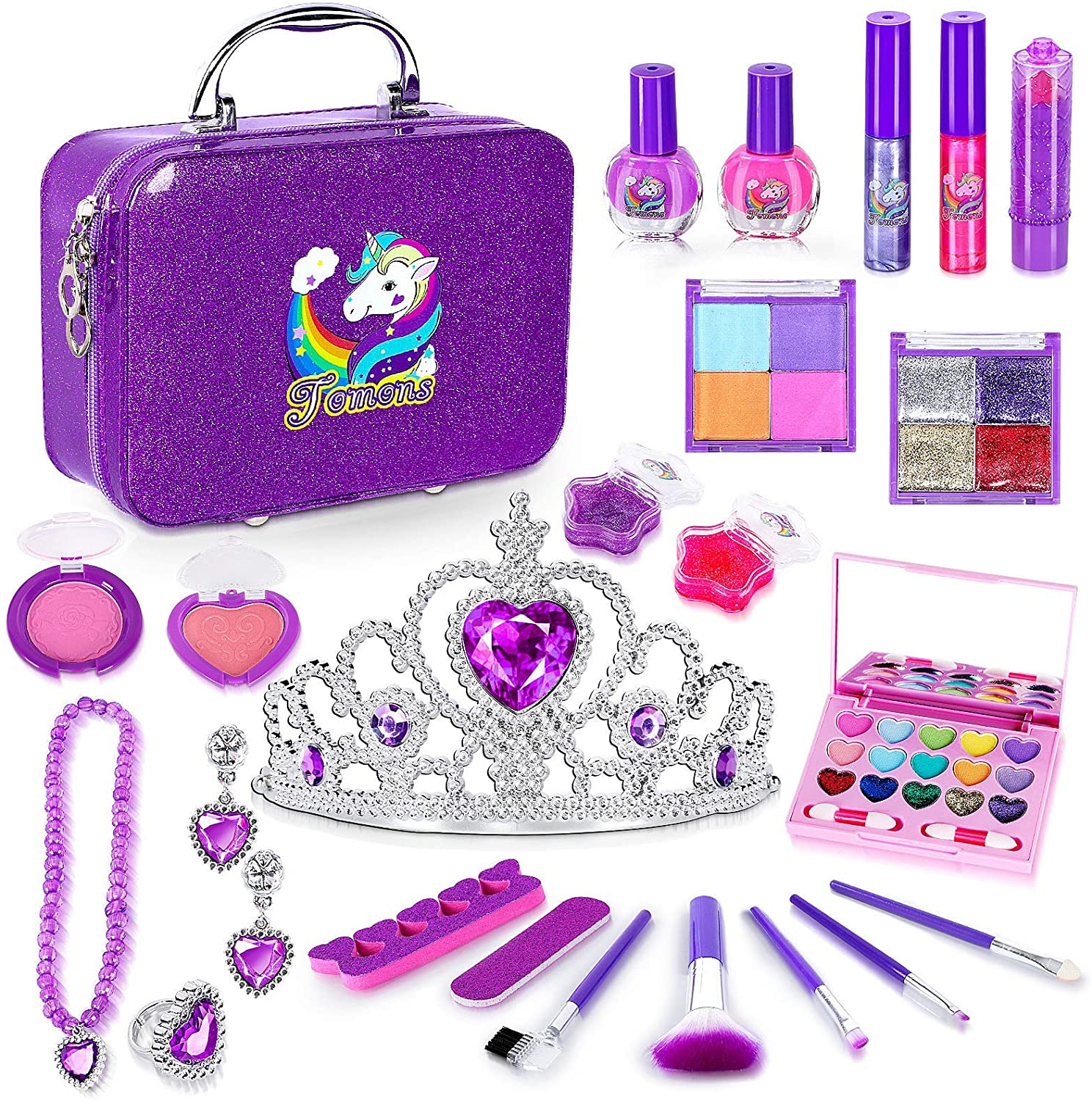 Tomons 25Pcs Kids Makeup Kit for Girls,Kids Play Washable Makeup Set Toys for Girls Safe & Non-Toxic,Real Cosmetic Beauty Set for Kids Play Game: Toys & Games