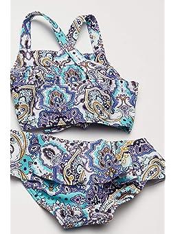 24th /& Ocean Womens Plus Size Stain Glass Mosaic Ruffle Hem High Neck Tankini Top