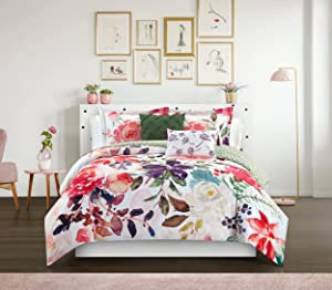 Chic Home Philia 5 Piece Reversible Comforter Set Floral Watercolor Design Bedding-Decorative Pillows Shams Included, King, Multi Color