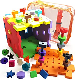 Skoolzy Shapes Puzzles for Toddlers - Educational Color Matching & Shape Sorter Montessori Toys for Toddlers, Preschoolers and Occupational - Peg Board Fine Motor Skills Learning Toy