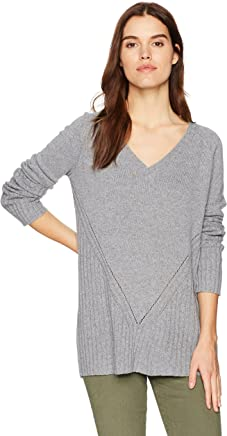 Three Dots Womens Brushed Sweater Cowl Loose Long Top