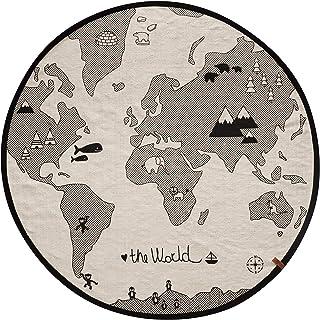 OyOy Mini World Rug – rund barnkammare matta för baby flickor och pojkar världsmotiv – 135 cm diameter bomull