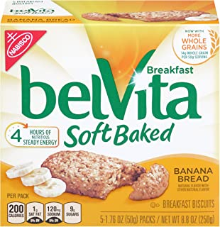 Belvita Soft Baked Breakfast Biscuits, Banana Bread, 1.76 Ounce, 5 Count Box