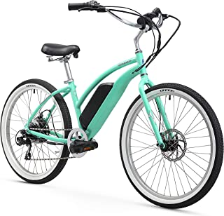 Firmstrong Urban Lady 26 350W Seven Speed Beach Cruiser E-Bicycle, Mint Green