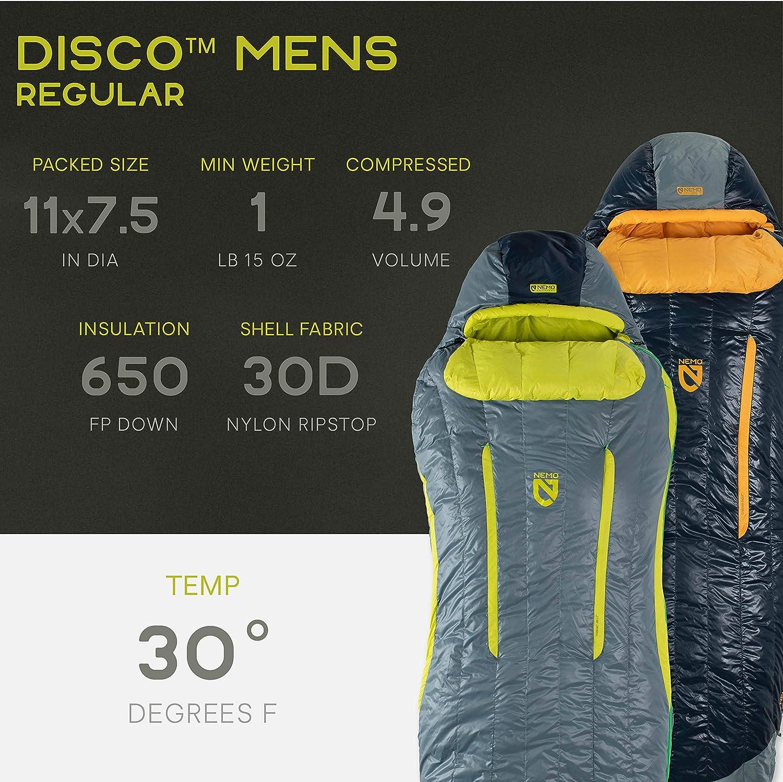 Nemo Disco Insulated Down Sleeping Bag Mens /& Womens 15 /& 30 Degree