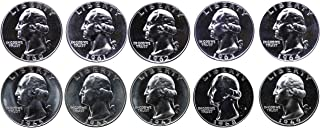 1960-1969 S 90% Silver Washington Quarters Gem Proof & SMS Run 10 Coins US Mint Decade Lot Complete 1960's Set