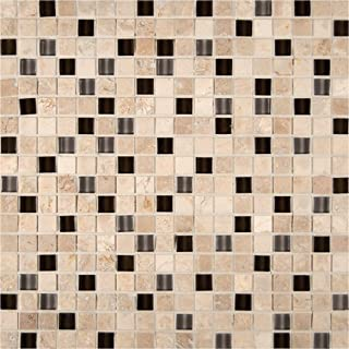 M S International Cafe Noche 12 In. X 12 In. X 8mm Glass Stone Mesh-Mounted Mosaic Tile, (10 sq. ft., 10 pieces per case)