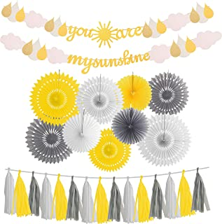 You are My Sunshine Gold Glitter Banner | with Sun and Cloud | Little Sunshine Party Supplies | for Baby Shower Kid's Birthday Wedding Party Nursery Decorations Supplies