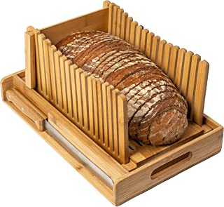 BambooSong Bamboo Bread Slicer with Crumb Tray Bamboo Bread Cutter for Homemade Bread, Loaf Cakes, Bagels Slicer, 3 Slice ...