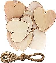 Corazones Madera - 10x10cm Naturales Rústicos Sin Terminar Amor Adornos para Día de San Valentín, Decoración del Arbol de Navidad, Reserva de Chatarra, DIY Arte y Artesanía con 10m Cordel (50 Pack)