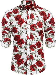 COOFANDY Men's Rose Floral Print Casual Cotton Button Down Dress Shirt