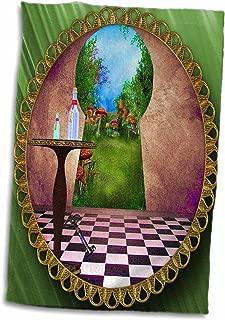 3D Rose Through The Keyholes Alice in Wonderland Art Checkered Floor Bottle of Magic Water Towel, 15