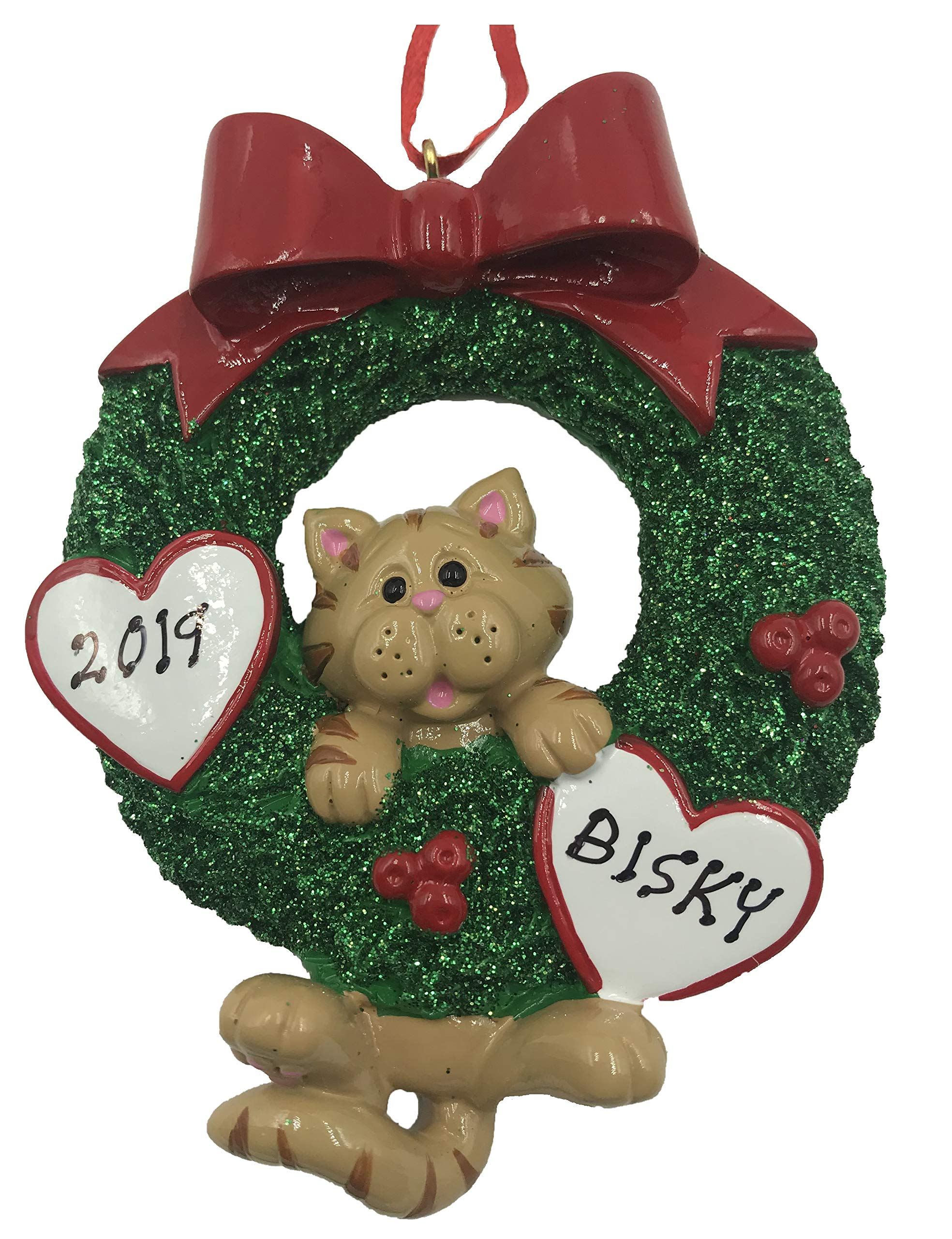 Cat Christmas Ornament 2020 Amazon.com: Personalized Cat in Wreath Christmas Ornament 2020