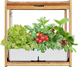 VIVOSUN Hydroponics Growing Kit Indoor Gardening Plant Kit with LED Plant Grow Light Bamboo Frame 12 Plant Baskets Water T...