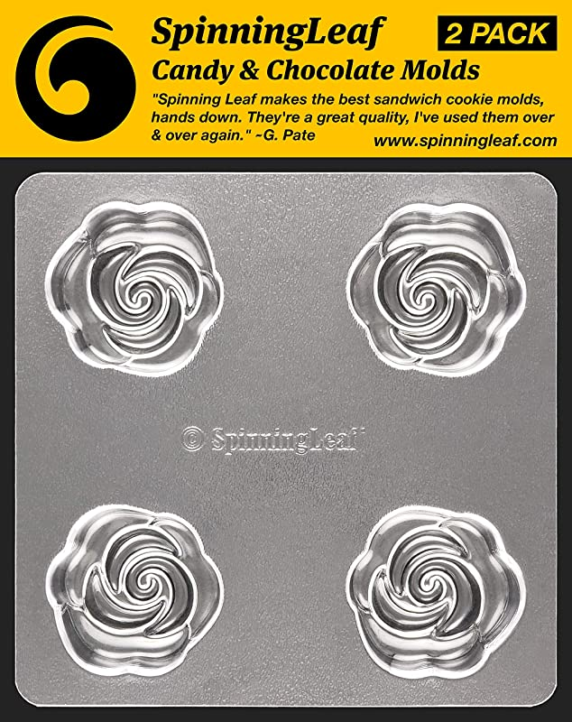 SpinningLeaf Rose Oreo Cookie Chocolate Candy Molds 2 Pack