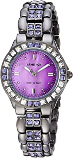 Armitron Women's Purple Crystal Accented Gunmetal Bracelet Watch