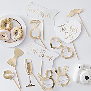 Ginger Ray Gold Wedding Photo Booth Props X10, Multicolor