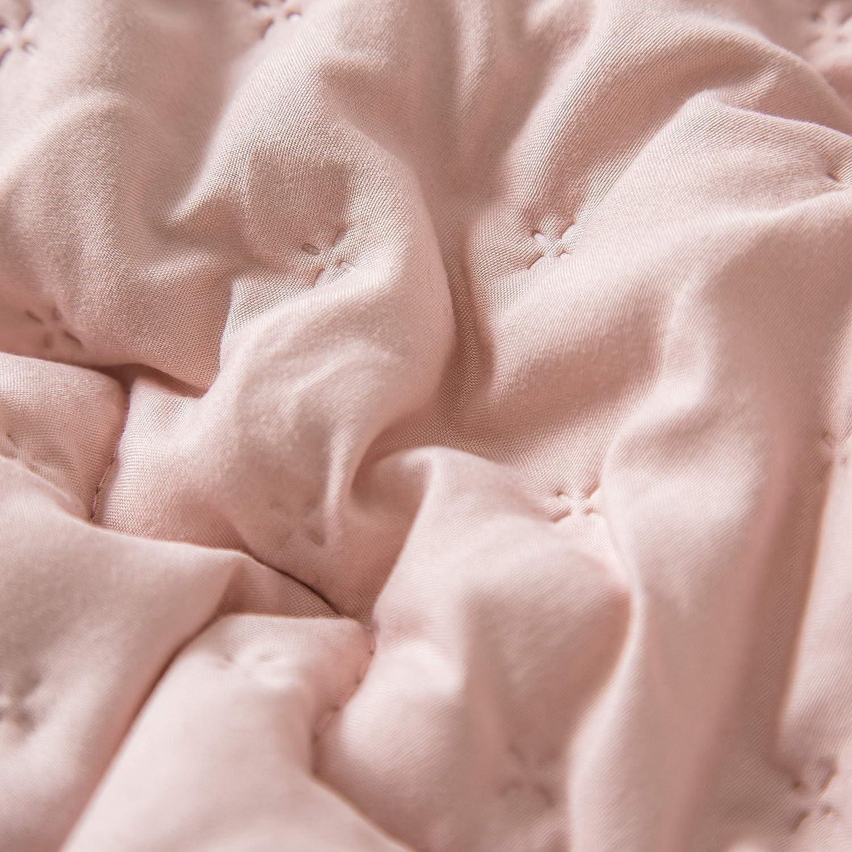 Couette R/éversible 4 Saisons 220x240 cm 300G//M/² Couette Chaud Hiver Hypoallerg/énique Matelass/ée Dessus De Lit Boutis Couvre-Lit Pompon Gris+Rose