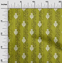 oneOone Cotton Poplin Twill Lime Green Fabric Stripe,Leaves & Floral Block DIY Clothing Quilting Fabric Print Fabric by Me...