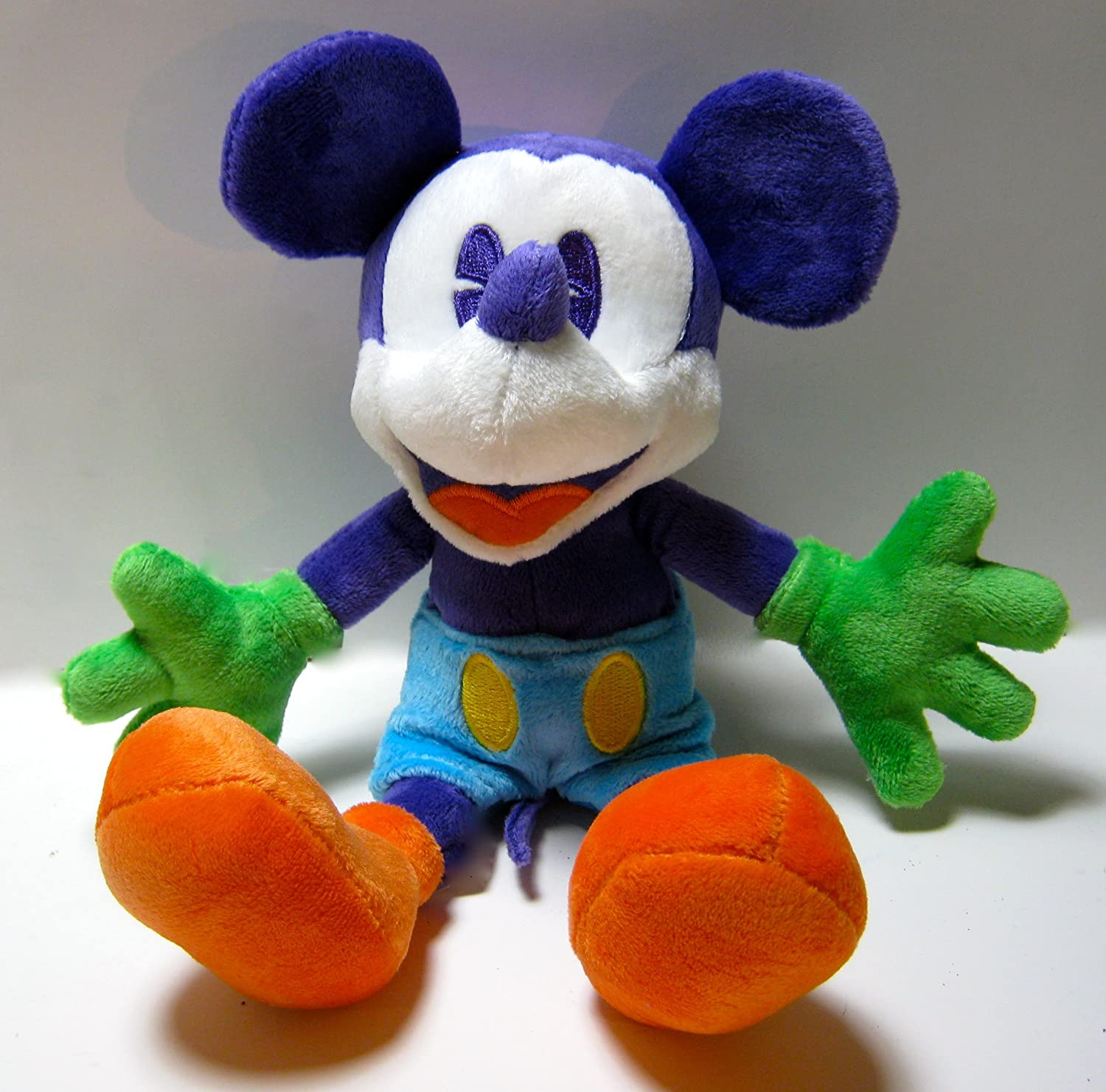 Retired Disney Theme Park Exclusive Multi colord Purple, Green and orange 9  Plush Mickey Mouse Bean Bag
