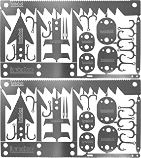 Survival Gear Credit Card Multi Tool (2 Pack) -Best Bug Out Bag Shtf Camping Multipurpose EDC Multitool - Fishing Hooks; Arrowheads; Saws, Hunting Survival Kit, Disaster Preppers Emergency Gift Idea