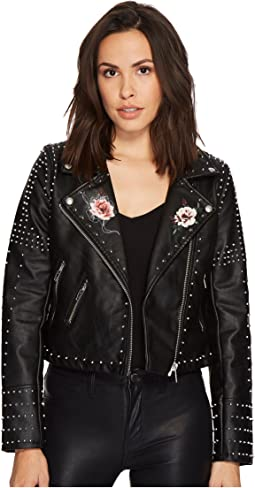 Vegan Leather Floral Jacket in Heartbreaker