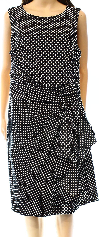 LAUREN RALPH LAUREN Polka-Dot Sleeveless Crepe Dress Size 10