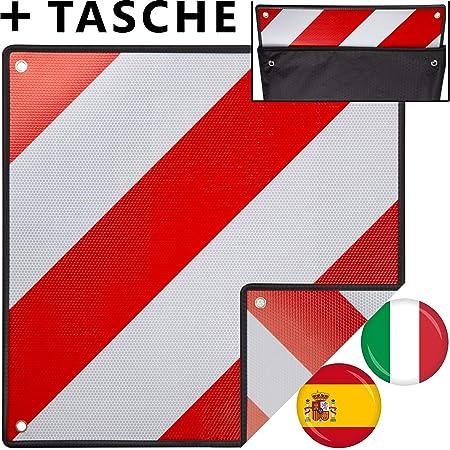 Hengda Warntafel Für Italien Und Spanien 2in1 50x50cm Aluminium Warntafel Reflektierend Für Fahrradträger Heckanhänger Wohnwagen Anhänger Auto