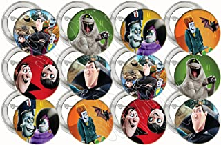 """Hotel Transylvania Buttons Party Favors Supplies Decorations Collectible Metal Pinback Buttons Pins, Large 2.25"""" -12 pcs, Mavis, Johnny, Dracula Movie"""